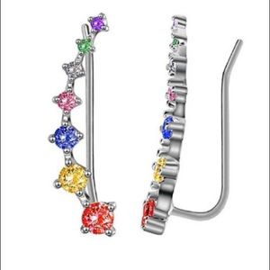 Rainbow chakra Ear Climber diamond boho chic